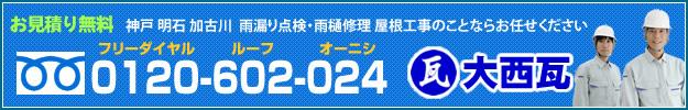 屋根修理、雨漏り修理、雨漏り点検など、屋根工事のことなら神戸、明石、加古川の屋根専門業者「大西瓦」にお任せください。お見積り無料です。フリーダイヤルお電話お問合わせ番号0120-602-024