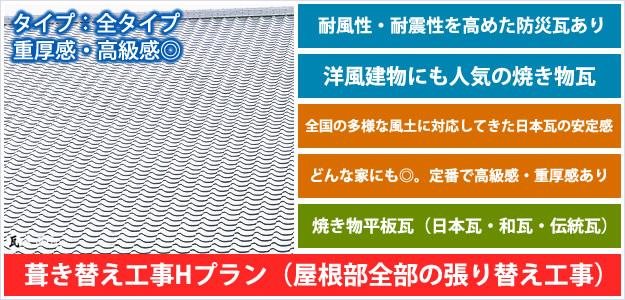 平板瓦・日本瓦屋根材全体工事プラン「プランH」