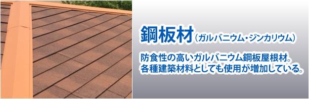 屋根材「鋼板材(ガルバリウム・ジンカリウム)」