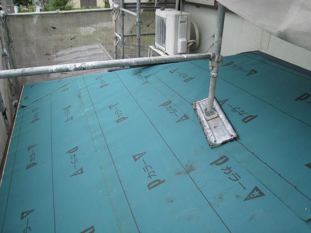 8ルーフィング下地材(防水シート)張り替え作業201407兵庫県K
