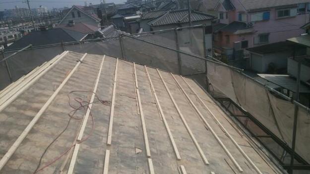 1427505700910屋根下地 屋根リフォーム工事写真 明石市。
