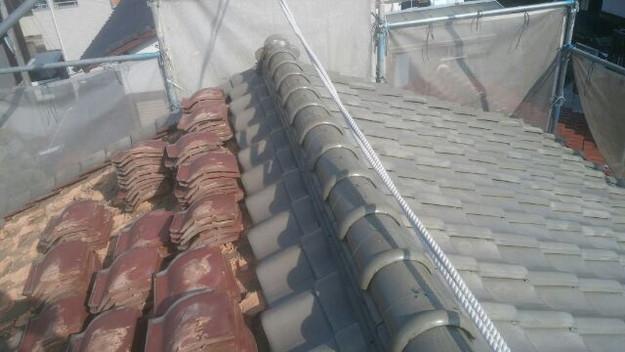 屋根リフォーム工事既存屋根瓦撤去中1431002666916