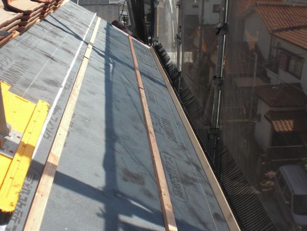 新築屋根工事洋瓦スペイン瓦敷設前CIMG1304