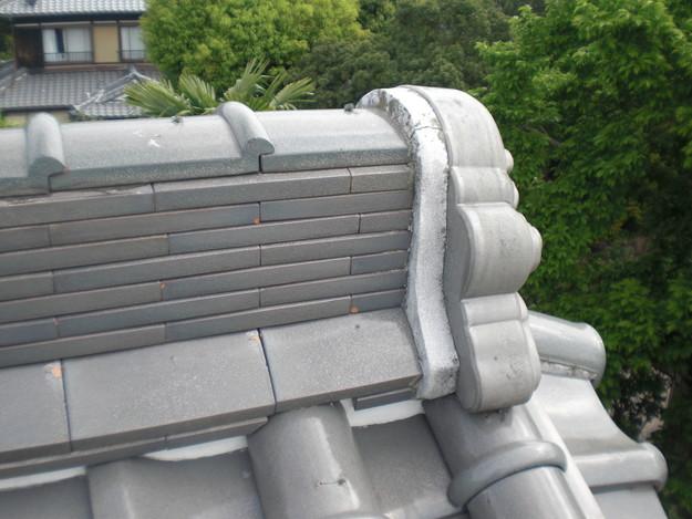雨漏り対策工事前漆喰箇所CIMG1255