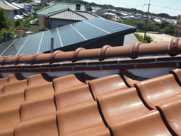 雨漏り対策工事施工後上屋根漆喰箇所CIMG1333