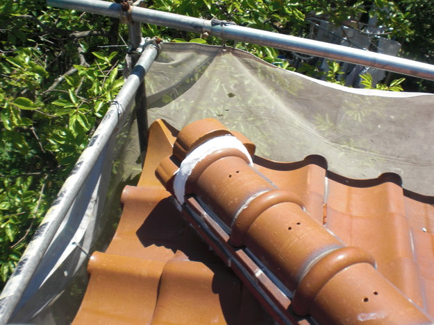 雨漏り対策工事施工後上屋根漆喰箇所CIMG1338