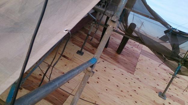 屋根リフォーム補強修理工事作業1430704523278