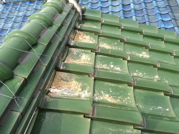 棟漆喰部屋根修理中写真1429233489728