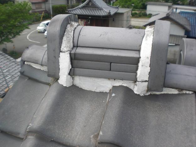 雨漏り対策工事前漆喰箇所CIMG1256