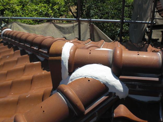 雨漏り対策工事施工後上屋根漆喰箇所CIMG1339