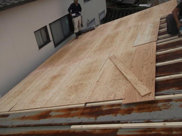 屋根リフォーム工事下地材敷設中DSCF1853