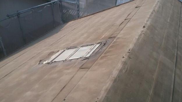 既存屋根材撤去完了写真2