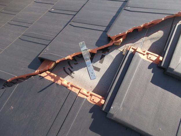 屋根のリフォーム新設瓦設置中DSCF2044