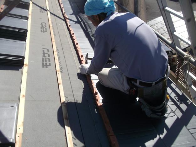 屋根のリフォーム新設瓦設置中DSCF2049