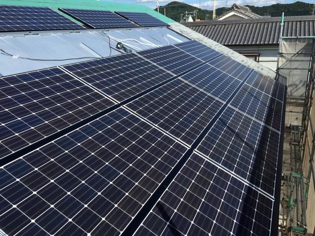 新築屋根工事と太陽光ソーラーパネル設置工事1443837693757