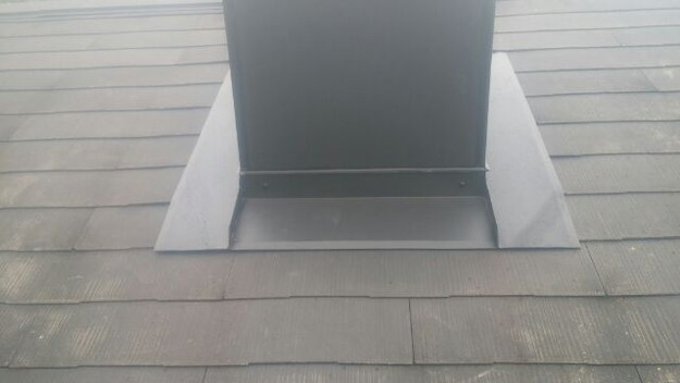 暖炉煙突回りの防水処理と板金の雨漏り対策工事1441328846360