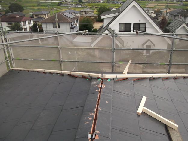 屋根のリフォーム新設瓦設置中棟部DSCF2052