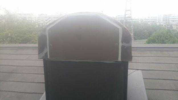 暖炉煙突回りの防水処理と板金の雨漏り対策工事1441328853922