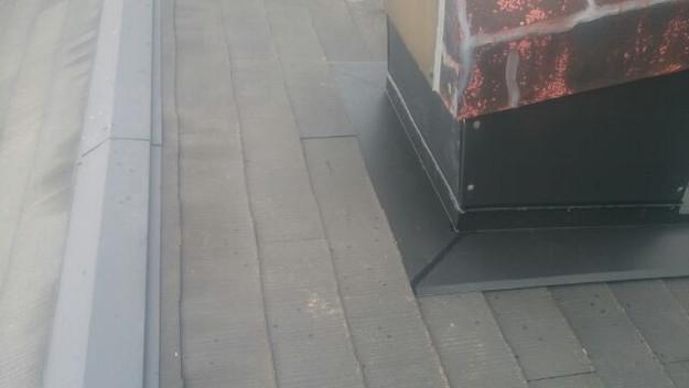 暖炉煙突回りの防水処理と板金の雨漏り対策工事1441328862490