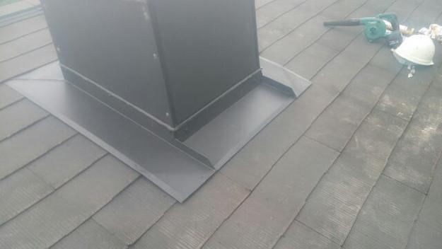 暖炉煙突回りの防水処理と板金の雨漏り対策工事1441328870175