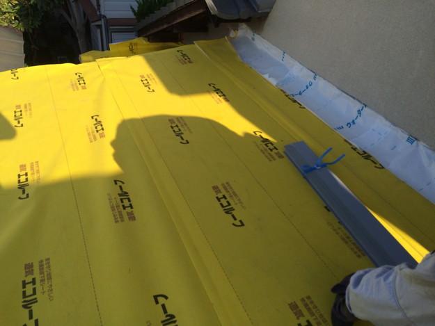 屋根防水シート敷設工事中1446191017166