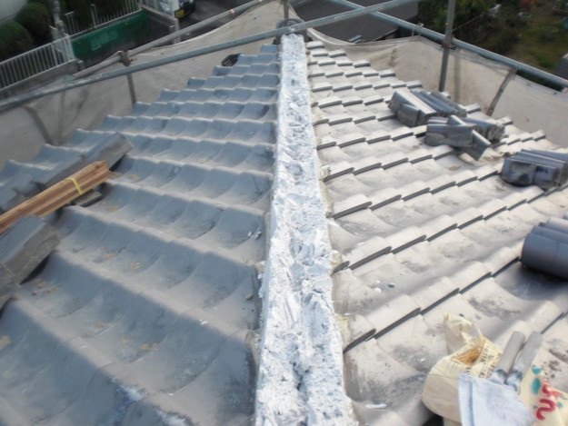 施工中の様子和瓦棟部雨漏り対策修理CIMG2052
