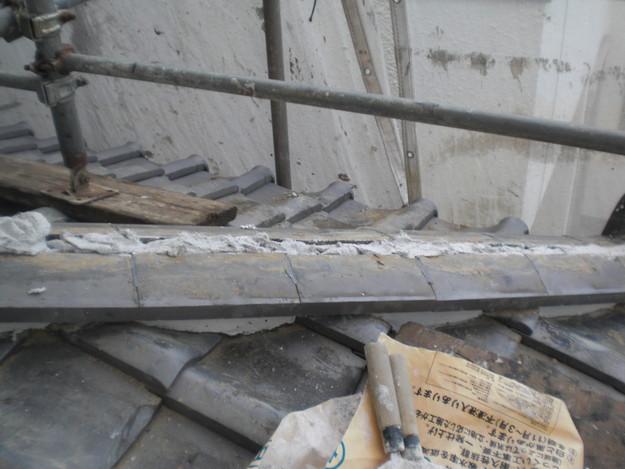 施工中の様子和瓦棟部雨漏り対策修理CIMG2065