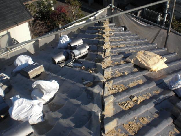 施工中の様子和瓦棟部雨漏り対策修理CIMG2041