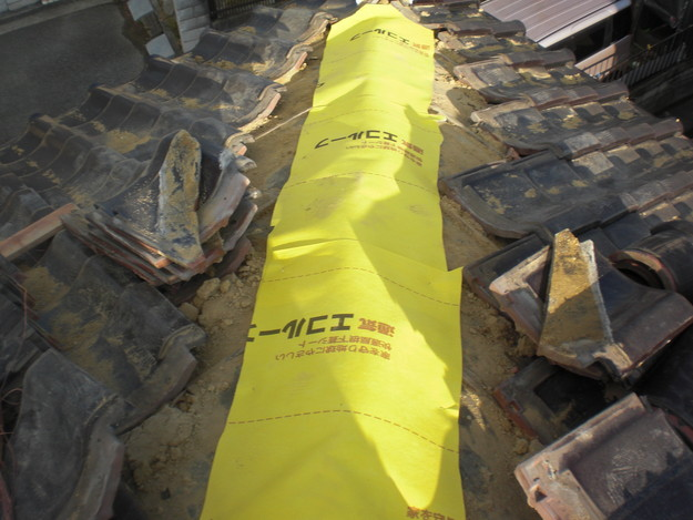 棟瓦屋根防水シート敷設CIMG2108