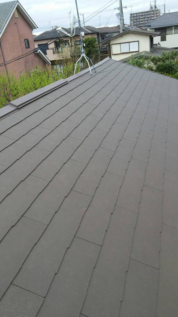 カラーベスト屋根葺き替えリフォーム完了1459808574394