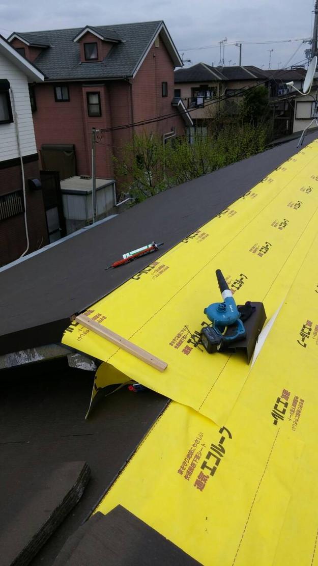 カラーベスト屋根葺き替え施工中1459684870347