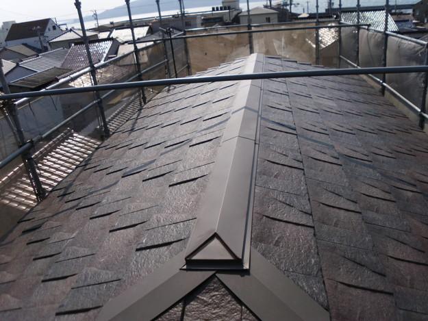 屋根のリフォームハイブリッド瓦敷設完了写真DSCI1151