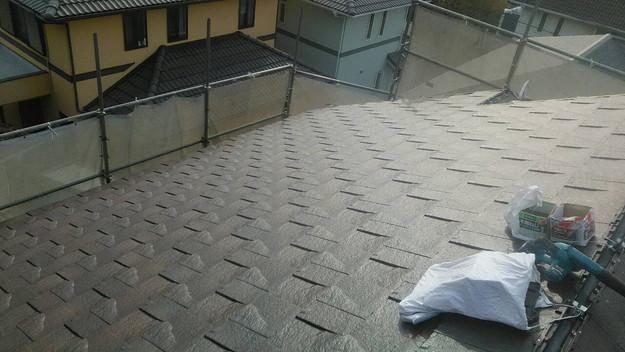 屋根のリフォーム神戸市新設屋根材ハイブリッド瓦設置作業1461820889311