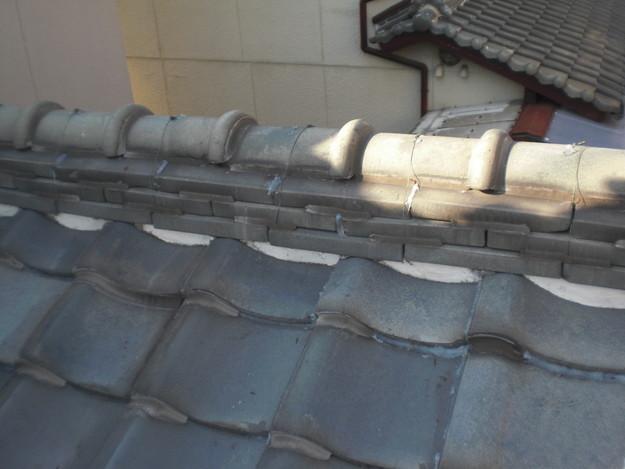 屋根修理棟瓦積替工事施工前加古川市
