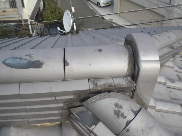 屋根漆喰工事施工中CIMG2333