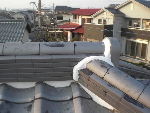 屋根漆喰工事施工中CIMG2357
