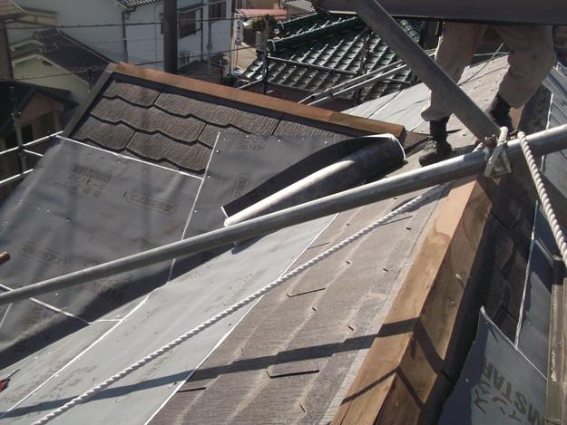 屋根防水シート敷設DSCF2746