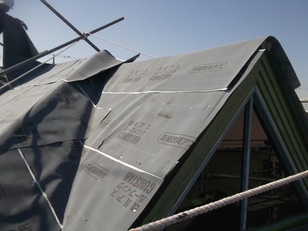 屋根防水シート敷設DSCF2748