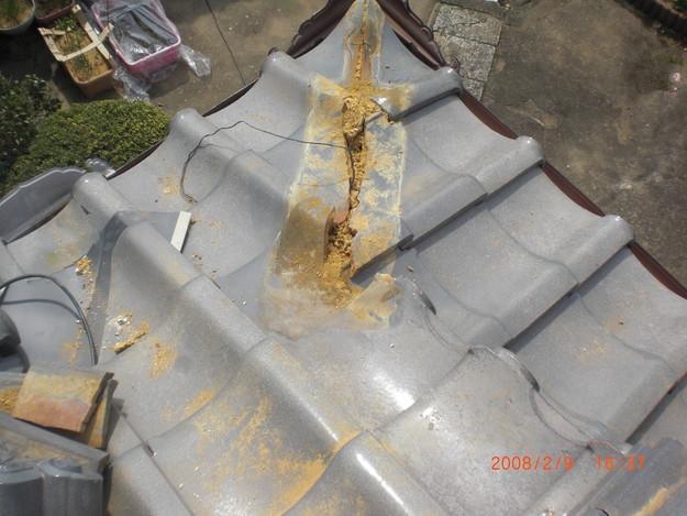 雨漏り・台風対策屋根修理施工中CIMG2584