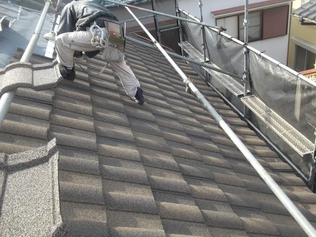 高級高性能洋風金属瓦によるカバー工法屋根リフォーム工事DSCF2757