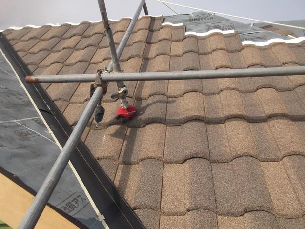 高級高性能洋風金属瓦によるカバー工法屋根リフォーム工事DSCF2769