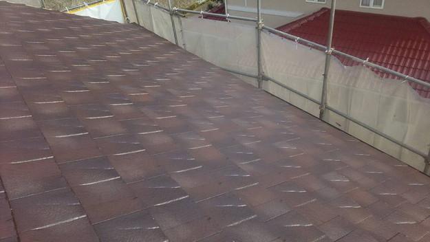 屋根のリフォーム神戸市新設屋根材ハイブリッド瓦設置作業1461820893655