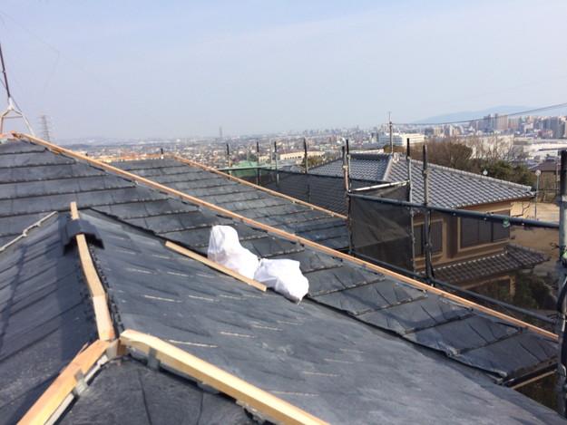 屋根のリフォーム葺き替え工事新設屋根材設置中1459505908003