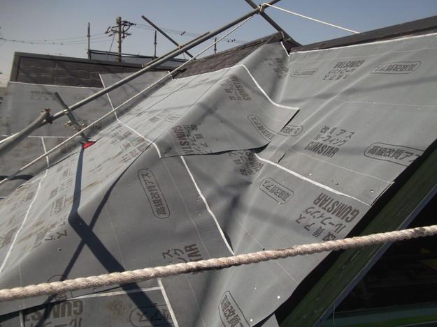 屋根防水シート敷設DSCF2744