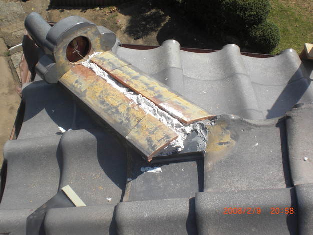 雨漏り・台風対策屋根修理施工中CIMG2591