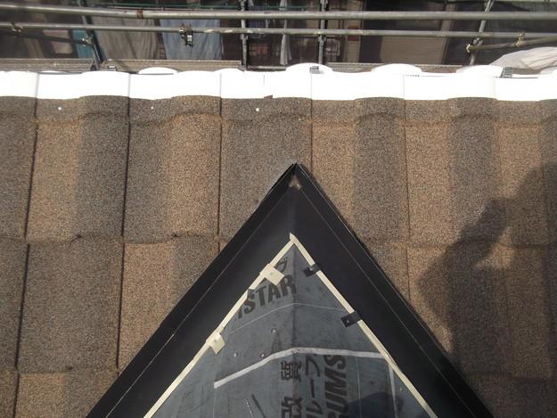 高級高性能洋風金属瓦によるカバー工法屋根リフォーム工事DSCF2772
