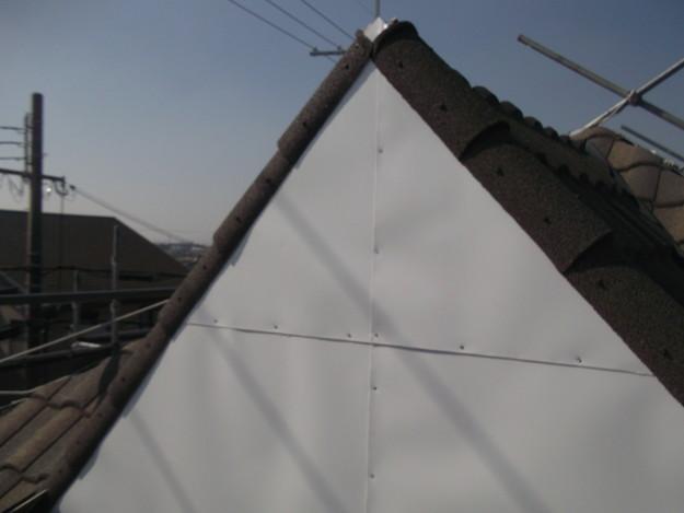 高級高性能洋風金属瓦によるカバー工法屋根リフォーム工事DSCF2821
