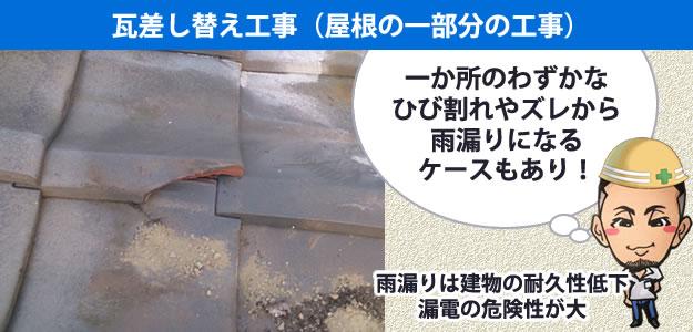 瓦差し替え工事 雨漏り修理バナー。
